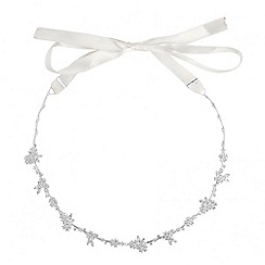 Alan Hannah Devoted - Designer cubic zirconia floral cluster hair ribbon