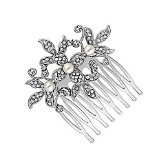 Jon Richard - Pearl and crystal flower small hair comb