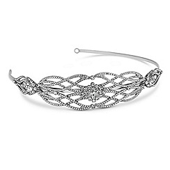 Alan Hannah Devoted - Silver crystal swirl side headband