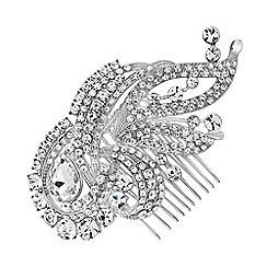 Jon Richard - Silver swirl statement hair comb