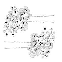 Jon Richard - Floral crystal spray hair pin set