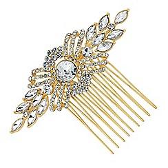 Jon Richard - Gold crystal pave swirl hair comb