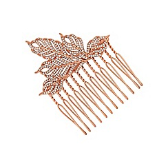 Jon Richard - Rose gold feather hair comb