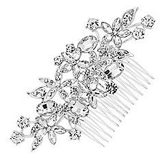 Jon Richard - Silver floral crystal hair comb