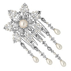 Alan Hannah Devoted - Designer pearl droplet flower hair comb