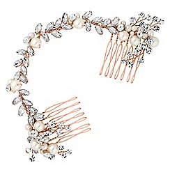 Jon Richard - Pearl and crystal double hair comb