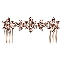 Jon Richard - Blush pink crystal floral double hair comb