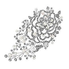 Jon Richard - Crystal pearl leaf hair clip