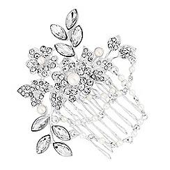 Jon Richard - Floral pearl drape hair comb