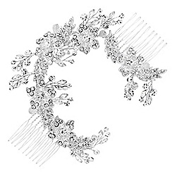 Jon Richard - Floral crystal double hair comb