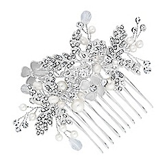 Alan Hannah Devoted - Designer crystal leaf hair comb