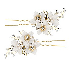 Jon Richard - Crystal floral hair pin set