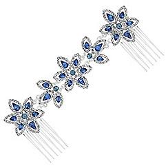 Jon Richard - Floral crystal double hair comb