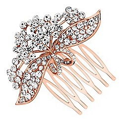 Jon Richard - Crystal floral ribbon hair comb