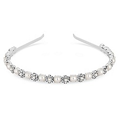 Jon Richard - Silver pearl and crystal flower headband