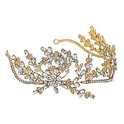 Jon Richard - Gold crystal spray statement hair piece