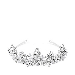 Jon Richard - Silver plated clear crystal sophia bead statement tiara