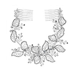 Jon Richard - Silver plated clear crystal olivia pave leaf double comb hair