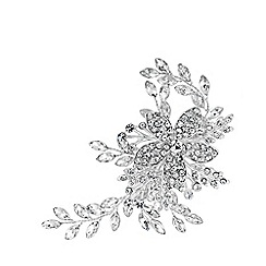 Jon Richard - Silver Plated Clear Crystal Darcey Pave Leaf Hair Slide