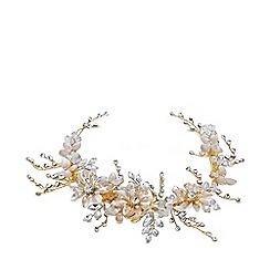 Jon Richard - Gold plated clear crystal flower slide hair