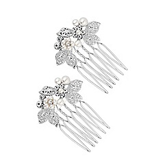 Jon Richard - Silver plated clear crystal 2 pack floral comb hair