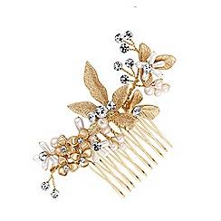 Jon Richard - Gold plated clear crystal layla soft leaf comb hair