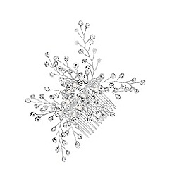 Jon Richard - Silver plated clear crystal hazel sprig comb hair