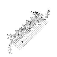 Jon Richard - Silver plated clear crystal flower comb hair
