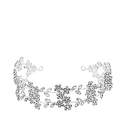 Jon Richard - Silver plated clear crystal floral halo  hair