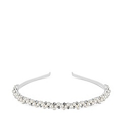 Alan Hannah Devoted - Silver plated clear fine crystal pearl bubble headband hair