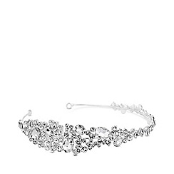 Jon Richard - Silver plated clear crystal alba cluster headband hair