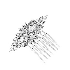 Jon Richard - Silver plated clear crystal navette comb hair