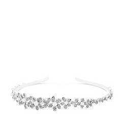 Jon Richard - Silver plated clear crystal flower headband hair