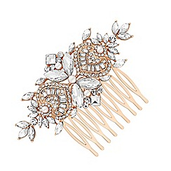 Jon Richard - Rose gold plated clear crystal navette comb hair