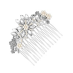Jon Richard - Silver Plated Clear Crystal Floral Hair Comb