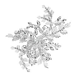Jon Richard - Silver Plated Clear Crystal Ruby Brushed Leaf And Crystal Burst Hair Slide