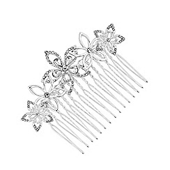 Jon Richard - Silver plated clear crystal polished comb hair