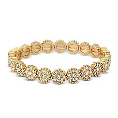 Jon Richard - Crystal embellished gold disc stretch bracelet