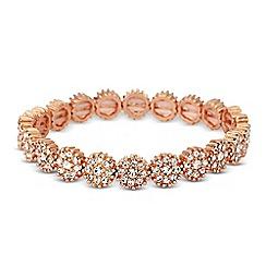 Jon Richard - Rose gold crystal flower stretch bracelet