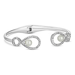 Alan Hannah Devoted - Grace pearl and cubic zirconia open bangle