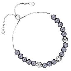 Jon Richard - Charcoal pearl and pave ball bracelet