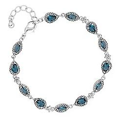 Jon Richard - Silver blue crystal halo peardrop bracelet