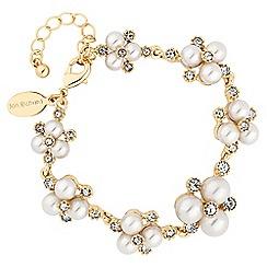 Alan Hannah Devoted - Designer gold pearl and crystal cluster bracelet