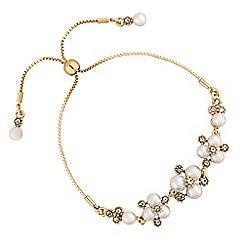 Alan Hannah Devoted - Designer gold pearl and crystal cluster toggle bracelet