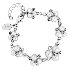 Alan Hannah Devoted - Designer silver pearl and crystal cluster bracelet