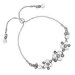 Alan Hannah Devoted - Designer silver pearl and crystal cluster toggle bracelet