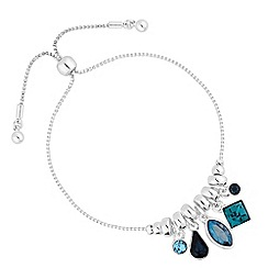 Jon Richard - Silver blue crystal charm toggle bracelet embellished with Swarovski crystals