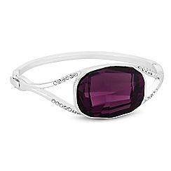 Jon Richard - Silver purple statement bangle embellished with Swarovski crystals