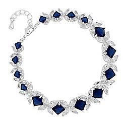Alan Hannah Devoted - Designer blue cubic zirconia floral link bracelet