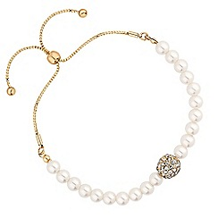 Jon Richard - Gold pave ball and pearl toggle bracelet